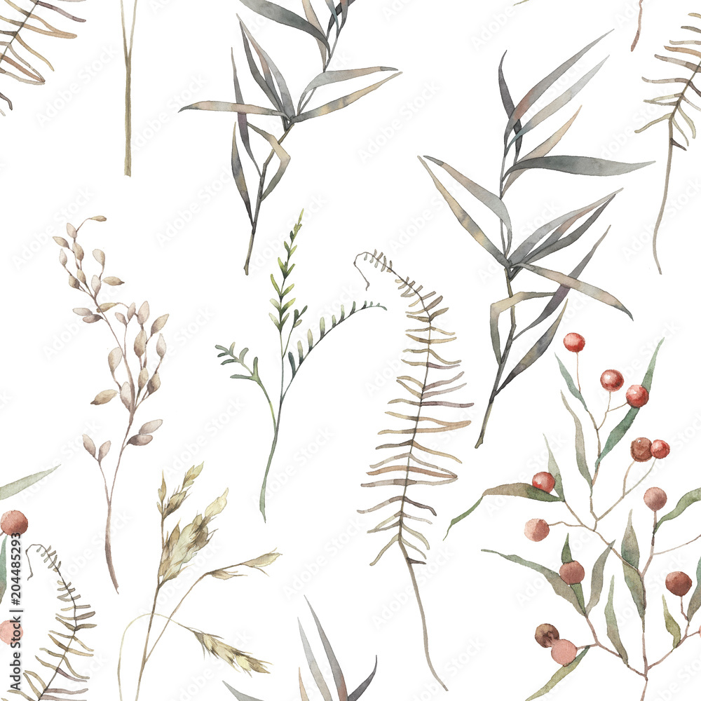 Fototapety, obrazy: Watercolor dry herbs seamless pattern. Hand painted texture with botanical elements: plants, grass, berries, fern, leaves. Natural repeating background