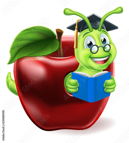 Book Worm Cartoon Character Fototapet