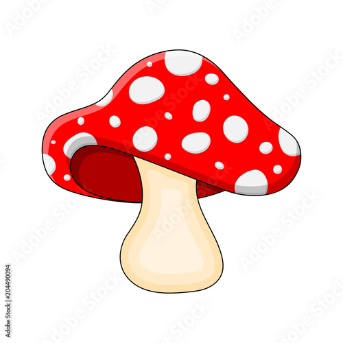 Fotografia cartoon mushroom toadstool isolated on white background