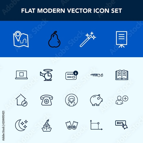 Modern, simple vector icon set with hit, location, profile