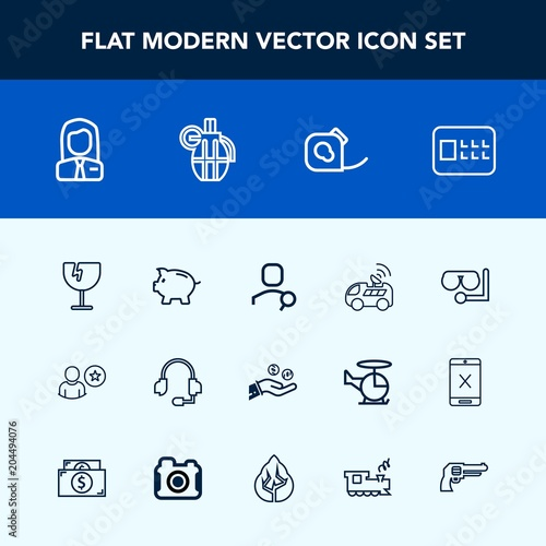 Modern, simple vector icon set with tape, navigation, people