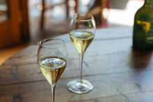 Flutes Filled With Prosecco Su...
