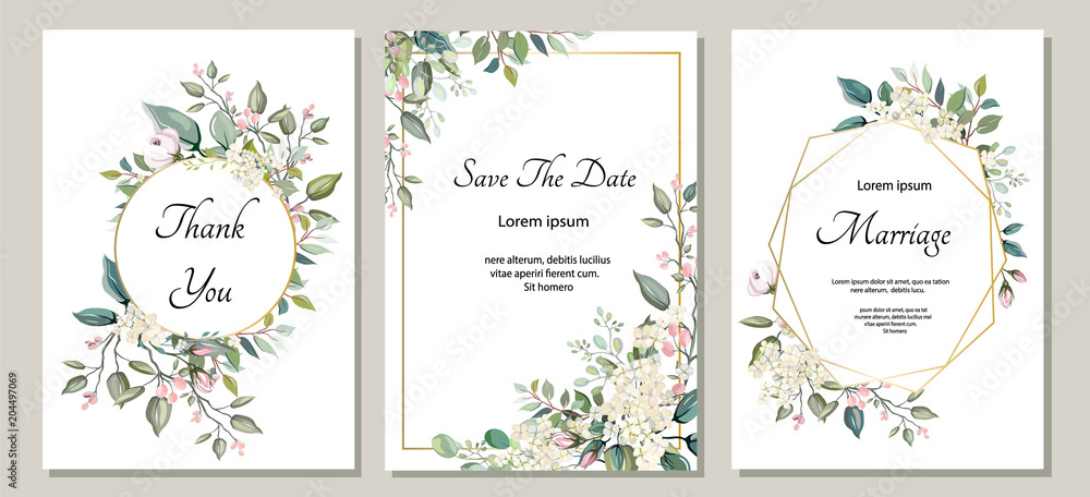 Fototapeta Set of card with flower, leaves. Wedding ornament concept. Floral poster, invite. Vector decorative greeting card or invitation design background