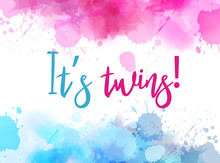 It's Twins Reveal Watercolor A...