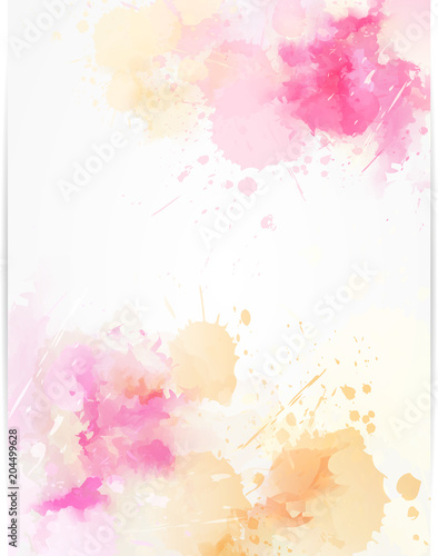 Watercolor abstract background with paint splashes. - 204499628