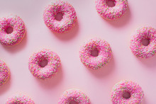 Pattern Pink Donuts On Pink Background