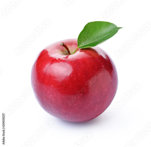 Foto op Aluminium Vruchten Perfect fresh ripe red apple with green leaf