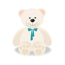 White Toy Teddy Bear Isolated On White,  Vector Flat Illustration