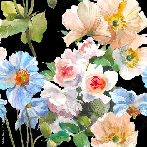 bezszwowy-kwiecisty-wzor-z-ogrodowymi-rozami-zoltym-makiem-i-blekitnym-kwiatem-na-czarnym-tle-akwarela-ilustracja-wyciagnac-reke