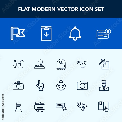 Modern, simple vector icon set with card, downstairs, bell, cartoon