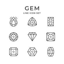 Set Line Icons Of Gem