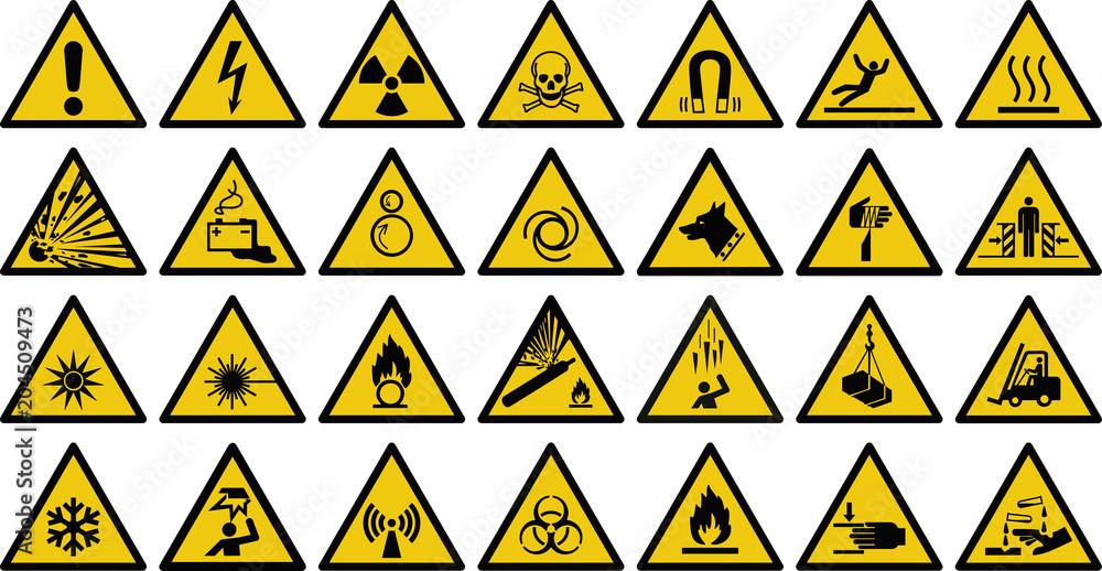 Fototapeta warning sign vector set of triangle yellow warning signs.