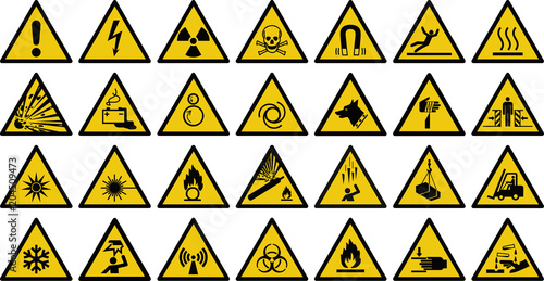 Cuadros en Lienzo  warning sign vector set of triangle yellow warning signs.