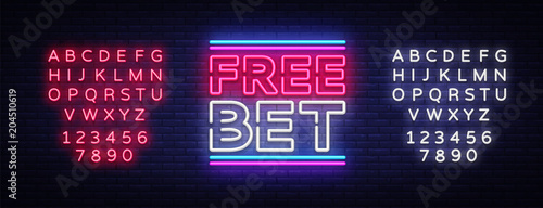 Free Bet Neon sign vector. Light banner, bright night neon sign on the topic of betting, gambling. Editing text neon sign