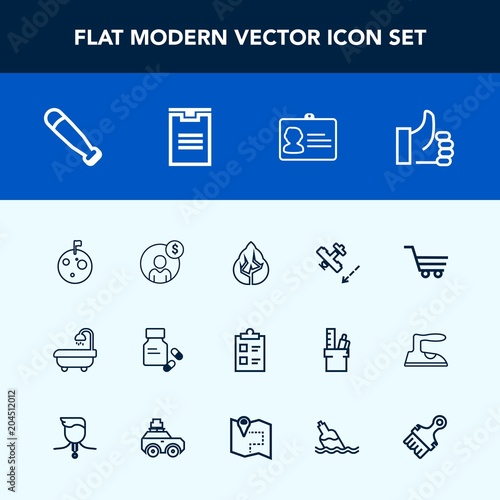 Photo  Modern, simple vector icon set with account, money, health, list, retail, planet