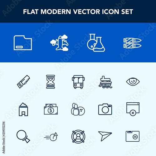 Modern, simple vector icon set with construction
