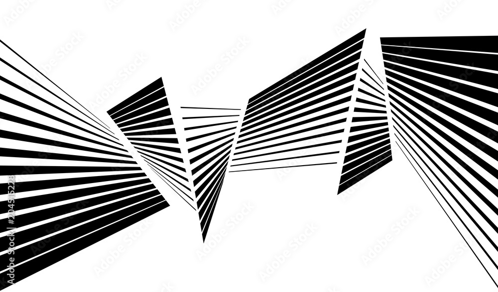 Fototapety, obrazy: black and white stripe line abstract graphic optical art background