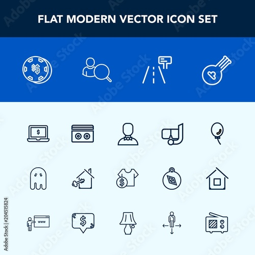 Modern, simple vector icon set with sea, tape, snorkel, casino, computer, risk, плакат