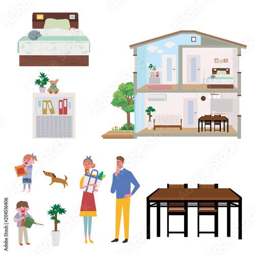 住宅 家 断面図 イラスト セット Fototapete