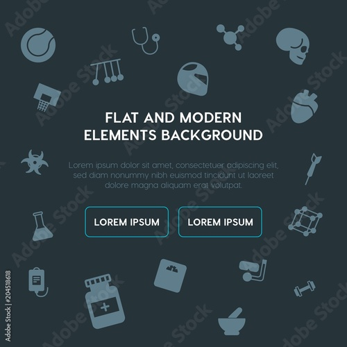 health, science, sports fill vector icons and elements background concept on dark background Poster