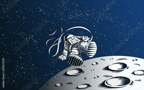 Lost Astronaut Wallpaper Blown Away Spaceman With Moon And