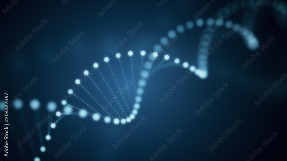 Fototapeta 3d illustration of rotating DNA glowing molecule on blue background