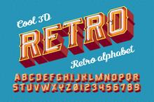3D Vintage Letters With Neon L...