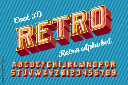 Fotografía  3D vintage letters with neon lights