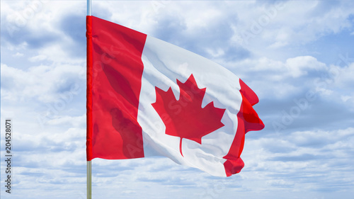 Spoed Foto op Canvas Canada Flag of Canada against the sky. 3D rendering.