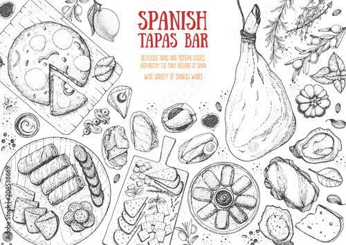 Foto  Spanish cuisine top view frame