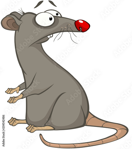 Poster Chambre bébé Illustration of a Cute Rat. Cartoon Character