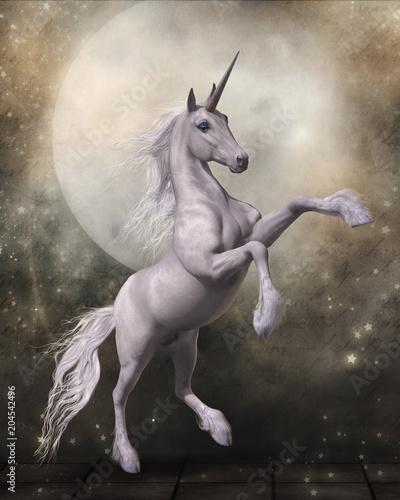 Fototapety, obrazy: Magical Unicorn with Fairytale Moon