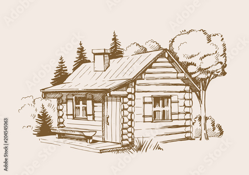 vector wooden house