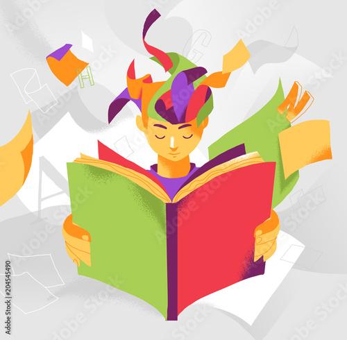 Un ragazzo assorto nella lettura di un libro che stimola la sua immaginazione Tapéta, Fotótapéta
