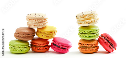 Fresh bright colored Macarons insolated on white background