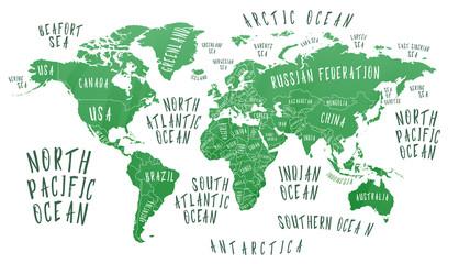 Mapa Ziemi z nazwą krajów