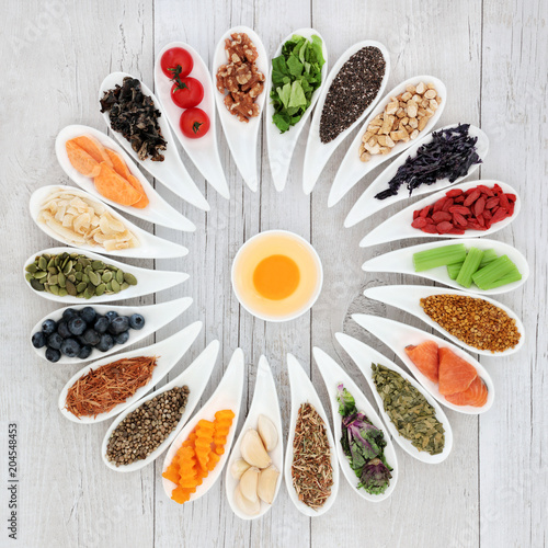 Poster Assortiment Health food wheel with ingredients to improve brain power. Super foods concept high in minerals, vitamins, antioxidants, omega 3 and anthocyanins.