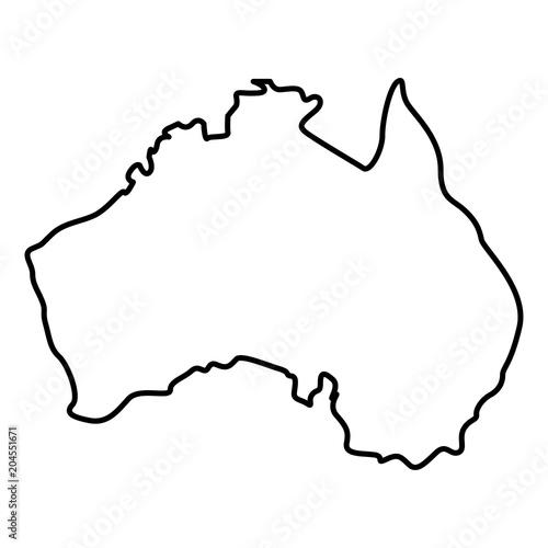 Simple Australia Map.Map Of Australia Icon Black Color Illustration Flat Style