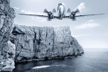 Historical Airplane Over The Sea