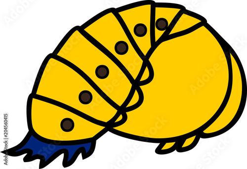 Naklejka premium Cartoon yellow pupa of ladybird on white background
