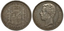 Spain, Spanish Coin Five Peseta 1871, Shield With Tower, Lion, Stripes And Chain, Crown On Top, Pillars At Sides, King Amadeo I Head Left, Silver,