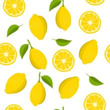 Lemon And Slices Of Lemon Pattern. Summer Background With Yellow Lemons. Vector Illustration