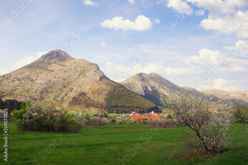 Foto op Canvas Blauwe hemel Beautiful spring day in mountains. Montenegro, view of Lovcen National Park