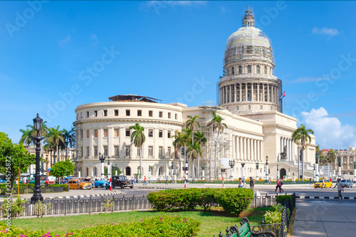 Downtown Havana with the famous Capitol building Wallpaper Mural