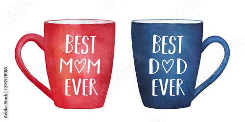 Illustration set of two lovely mugs, red and blue colors, with text words: