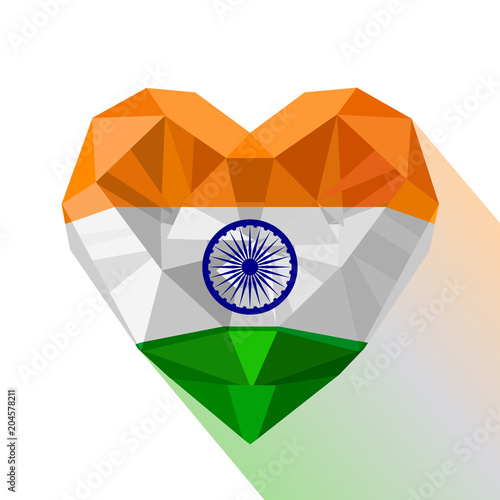 Crystal Gem Jewelry Indian Heart With The Flag Of Republic Of India