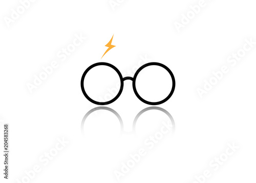 icon of a round glasses, vector isolated