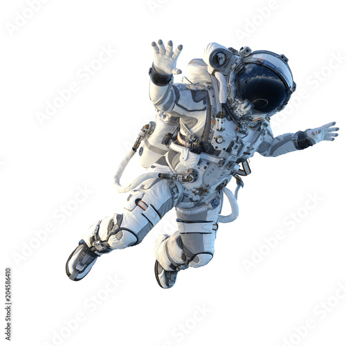 Astronaut on white. Mixed media Poster Mural XXL