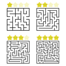A Square Labyrinth With An Entrance And An Exit. A Set Of Four Options From Simple To Complex. With A Rating Of Cute Cartoon Stars. Vector Illustration Isolated On White Background.