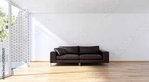 Fototapeta Modern bright interiors apartment with mockup poster frame 3D rendering obraz na płótnie